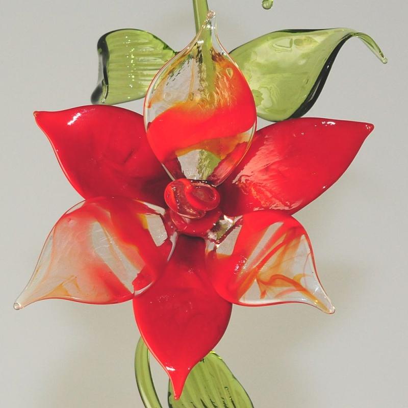 bl tenzweig zum h ngen und liegen rot rot trasparent glas geschenke. Black Bedroom Furniture Sets. Home Design Ideas