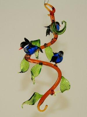 bl tterranke zum h ngen blaumeise mit lichtm hle tropfen glas geschenke. Black Bedroom Furniture Sets. Home Design Ideas