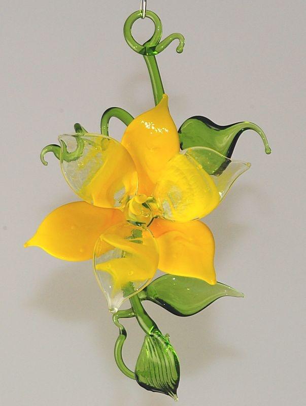 bl tenzweig zum h ngen und liegen gelb gelb transparent glas geschenke. Black Bedroom Furniture Sets. Home Design Ideas
