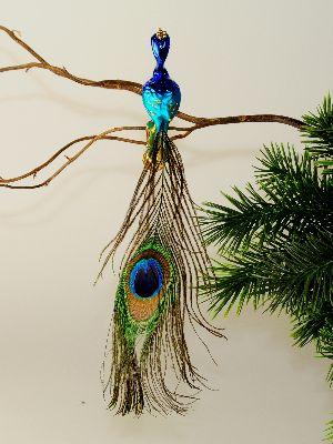 Mini Pfau Gerader Kopf Pfauenfeder Krone Turkis Blau Glas