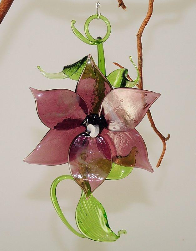 bl tenzweig zum h ngen und liegen violett melliert glas geschenke. Black Bedroom Furniture Sets. Home Design Ideas