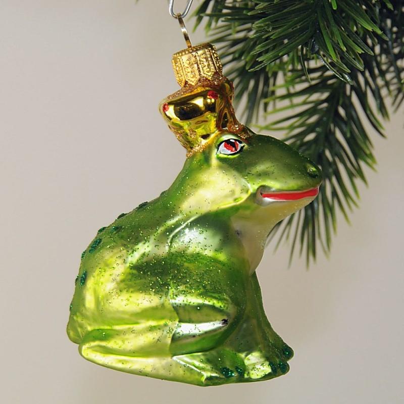 frosch mit krone groß blaugrün neu  glas  geschenke