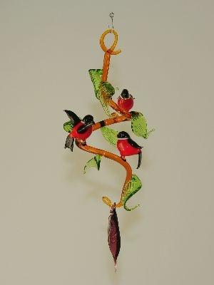 bl tterranke zum h ngen mit 3 roten v geln dompfaff glas geschenke. Black Bedroom Furniture Sets. Home Design Ideas