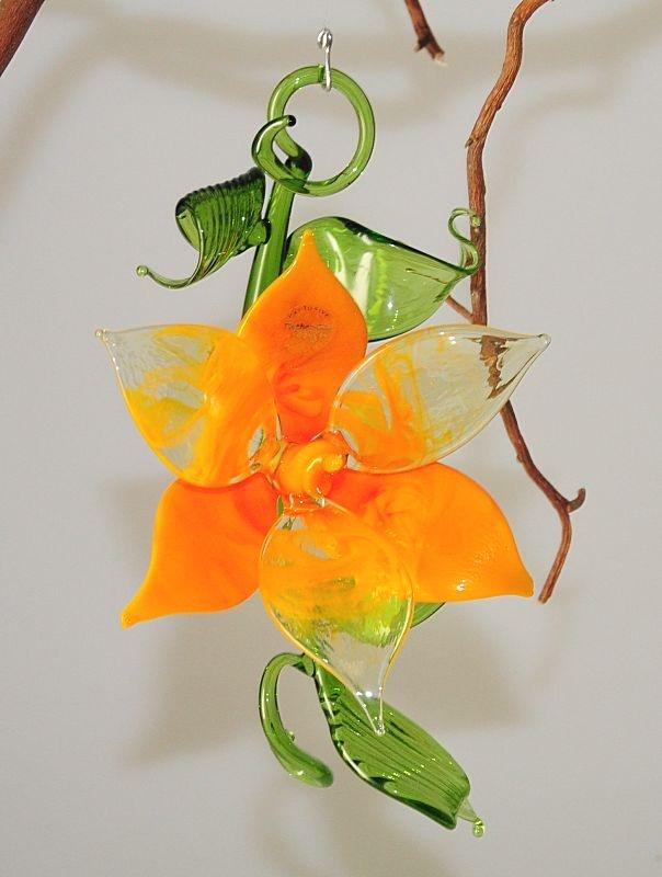 bl tenzweig zum h ngen und liegen orange meliert glas geschenke. Black Bedroom Furniture Sets. Home Design Ideas