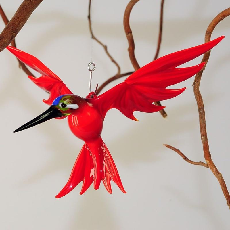 eisvogel zum h ngen gro rot glas geschenke. Black Bedroom Furniture Sets. Home Design Ideas