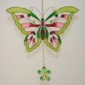 Hänger Schmetterling, Tiffany grün-rose.
