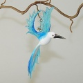 Kolibri hängend,  210,  weiß-aqauablau    -Neu-