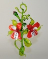 Orchideenranke mit 2 Blüten  rot-weiß   -Neu-