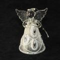 Engel  betend aus Glas, klar-geeist mit Silbersteinen