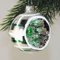 Reflexkugeln, Silber mit grünen Reflex Streifendekor