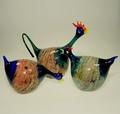 Hahn mit 2 Hühnern  blau, mit farb. Metalloxiden
