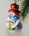 Schneeman mit Kranz, Hut rot, blauer Schal   -NEU-