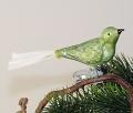 Vogel mit Glasschwanz, Eislack mindgrün Silberglimmer   -NEU