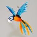 Papagei hängend, gefächert, klein, aquamarin-orange