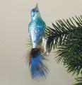 kleiner Vogel, gespritzt, Naturfeder, türkis-blau  -Neu-