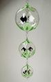 Lichtmühlenkette Kugelform, 3 Stück, handgemalt, Bea, grün