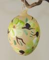 Osterei, mundgeblasen mattlack lindgrüne Blüten
