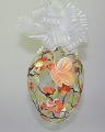 Osterei groß Klarglas, lachsfarb. Blüten  -NEU-