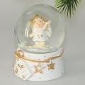 Schneefallkugeln  mit Engel weiß/gold