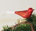 Vogel mit Glasschwanz, mattrot mit Goldglimmer NEU-  -NEU-