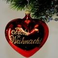 Herz mit  Frohe Weihnacht, glanzrot