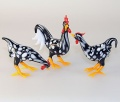 Hühnergruppe anthrazit mit weißen Einschmelzungen  -NEU-