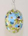 Osterei, mundgeblasen Klarglas hellblau Blüten -NEU-