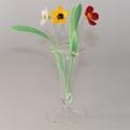Blumenstecker mit Glas, 3 Blumen, 3 Glasblätter