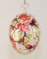 Osterei, mundgeblasen Klarglas weinrote  Blüten