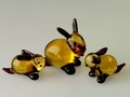 Hasenpaar - 3 - Stück, gold-violett