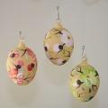 Ostereier, 3 Stück, mundgeblasen mattlack farbig sortiert