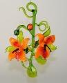 Orchideenranke mit 2 Blüten, orange-rot      -Neu-