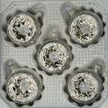 Reflexkugeln 6 cm, Eislack weiß Silberglimmer