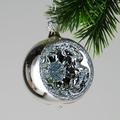 Reflexkugeln 6 cm, silber mit Silberglimmer