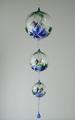 Lichtmühlenkette Kugelform,  Blume, blau-weiß