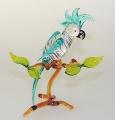 Kakadu auf Ast groß, stehend,  kristall mit türkis   -NEU-