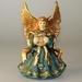 Engel Windlicht blau-gold aus Porzellan