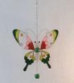 Fensterbild Tiffany, Schmetterling , grün/rosa/bordaux