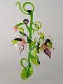 Orchideenranke mit 2 Blüten, weiß-violett    -Neu-