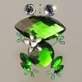 Hänger  Frosch, groß mit Blume Acryl grün
