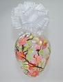 Osterei groß Klarglas  matt orangene Blüten  -NEU-
