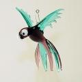 Papagei hängend, gefächert, klein, türkis-violett