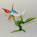 Kolibri groß auf Zweig mit Orchidee   -NEU-