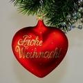 Herz mit  Frohe Weihnacht, mattrot