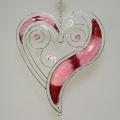Hänger Herz 45, Tiffany   weinrot-rosa   -Neu-