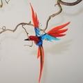 Paradiesvogel groß hängend, aquablau-rot  -NEU-