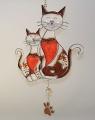 Hänger Katzenpaar weiß-braun  Tiffany  - Neu -