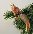 kleiner Vogel,gespritzt,Naturfeder,  mattgold, marone  -Neu-