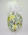 Osterei groß, Klarglas grüne Blüten  -NEU-
