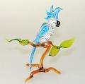 Kakadu auf Ast groß, stehend,  kristall mit hellblau  -NEU-